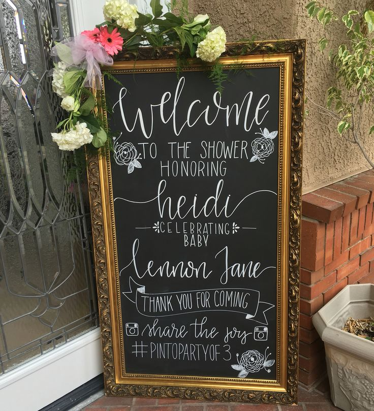 Hand lettered welcome chalkboard for a baby shower! https://www.facebook.com/LittleChalkShop/