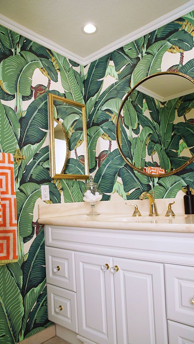 Glam Banana Leaf Wallpaper  Decor  Bathroom wallpaper