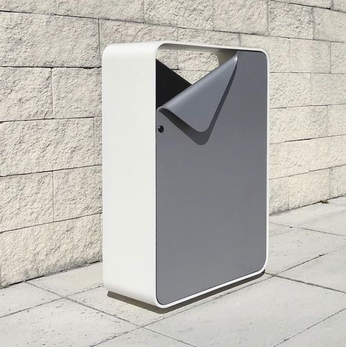 Public trash can / metal / original design SHEET LARUS DESIGN