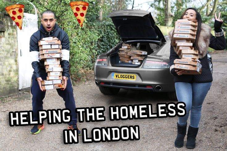 Giving Money & Pizza To Homeless People in London! Supercar Pizza Delivery