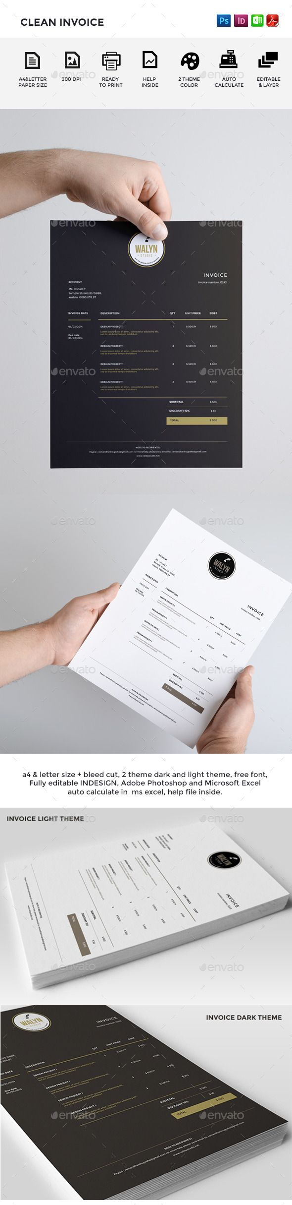 Clean Invoice Template | #invoice #invoicetemplate #invoicedesign | Download: http://graphicriver.net/item/clean-invoice/9054399?ref=ksioks