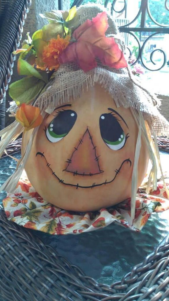 Ready to ship Scarecrow fall scarecrow gourd hand painted