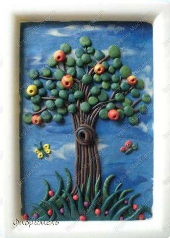 Картина панно рисунок Мастер-класс Аппликация из пластилина + обратная Дерево из пластилина Поэтапное выполнение Пластилин фото 1