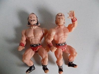 Vintage Toy Figure Figurine Lot 5 Inch Light Plastic Wrestlers Made in China