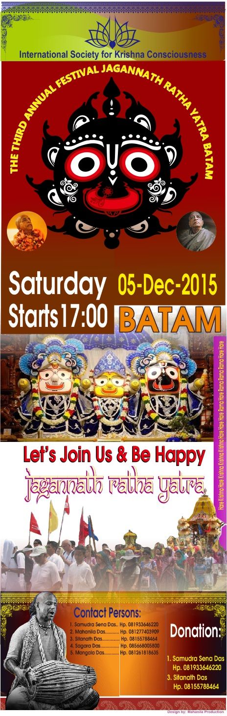 Nitai Gaura Krishna Center Batam Kepulauan Riau Indonesia: The Third Annual Jagannath Ratha Yatra - Batam - K...