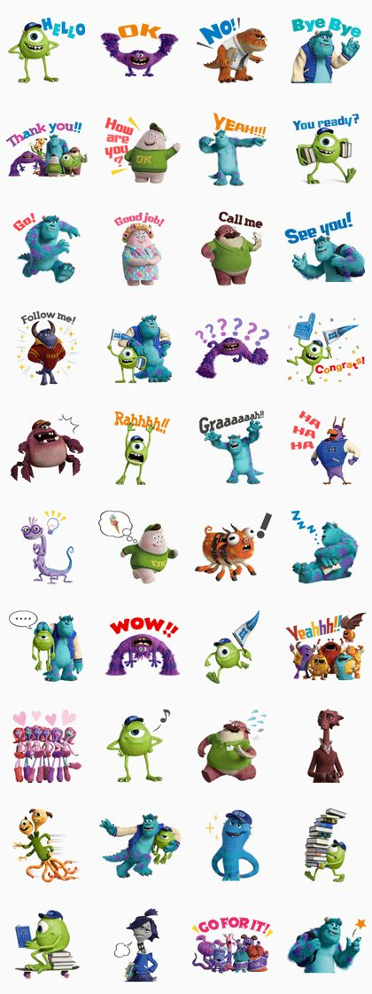 The monsters are back to scare you silly! Catch Monsters University, then relive the adventure with Mike, Sulley, and other friends in this set of stickers!
