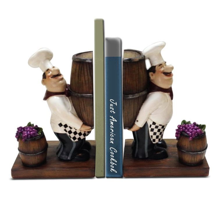 Fat Chef Bookends With Grapes And Barrel