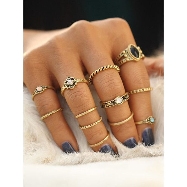 Gold Plated Rhinestone Ring Set ($7.90) ❤ liked on Polyvore featuring jewelry, rings, accessories, black, rhinestone jewelry, gold plated jewellery, rhinestone rings, gold plated jewelry and set rings