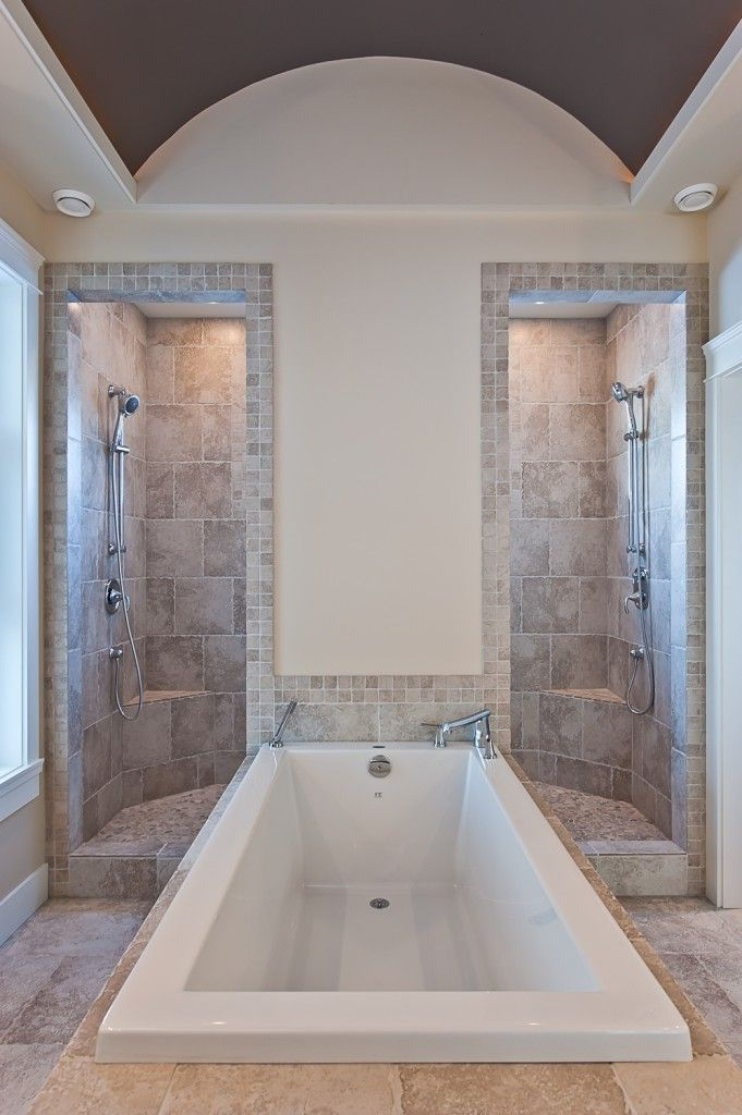 We could stand for this unique (and luxurious) layout. Or lay down for it, in the case of the tub.