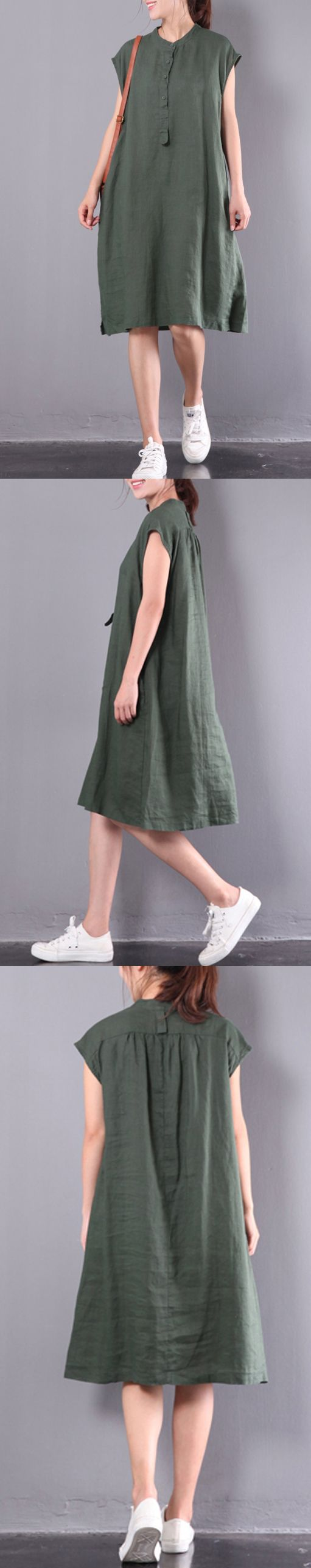 new green oversize linen sundress casual slim button women dresses