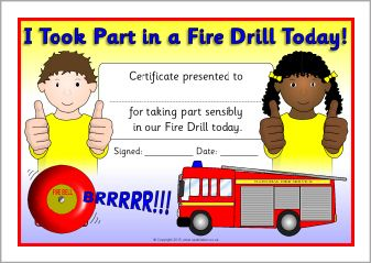 Fire drill award certificates (SB9797) - SparkleBox