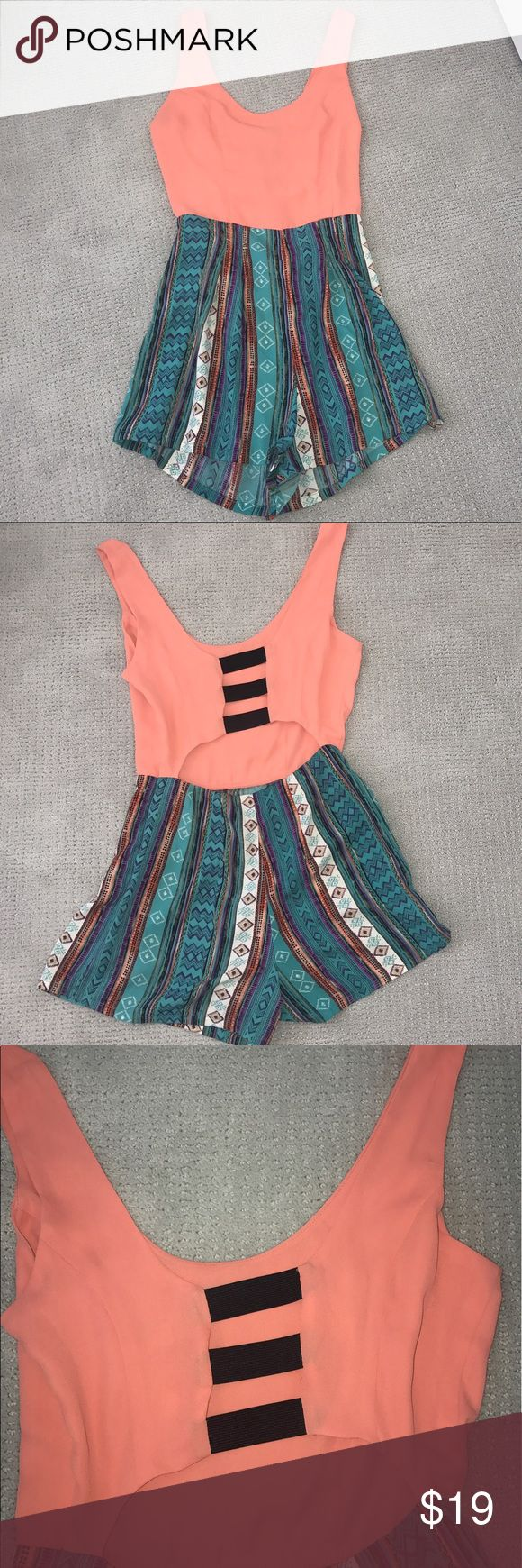 Peach top tribal print romper Super cute romper for festivals/ summertime parties etc! Sexy and fun backless detail. Only worn twice... Charlotte Russe Pants Jumpsuits & Rompers
