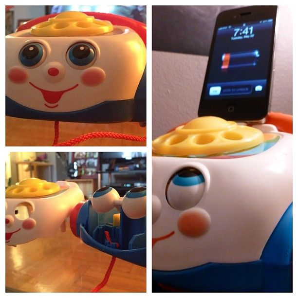 I made this out of the Fisher-Price Rolling Telephone-Thing...so easy...i might be obsessed and have found a new career...