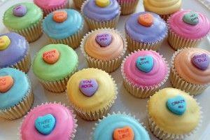 Happy Valentimes! (conversation heart cupcakes)