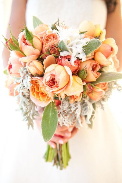 Beautiful bouquet coral peach wedding