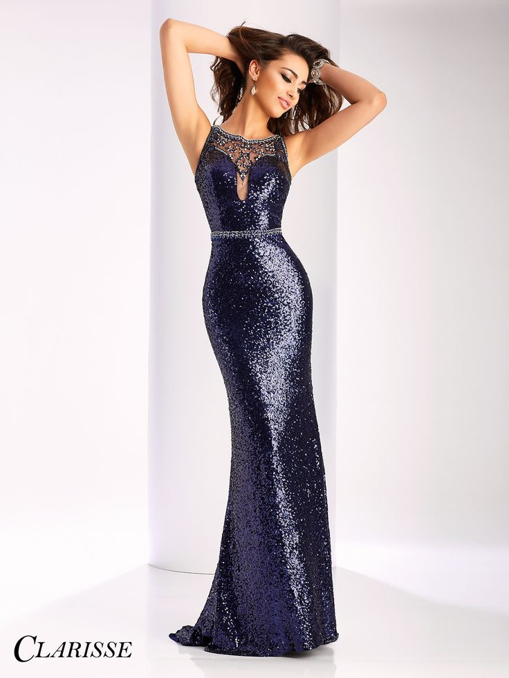 Clarisse long Navy Sequin Prom Dress 3135 | Promgirl.net