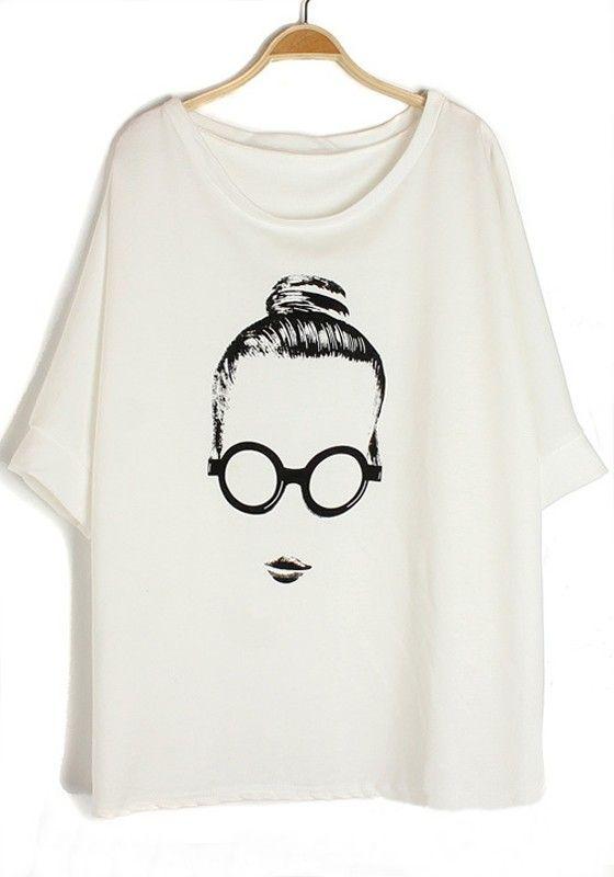 White Eye Girl Print Bat Sleeve Cotton T-Shirt