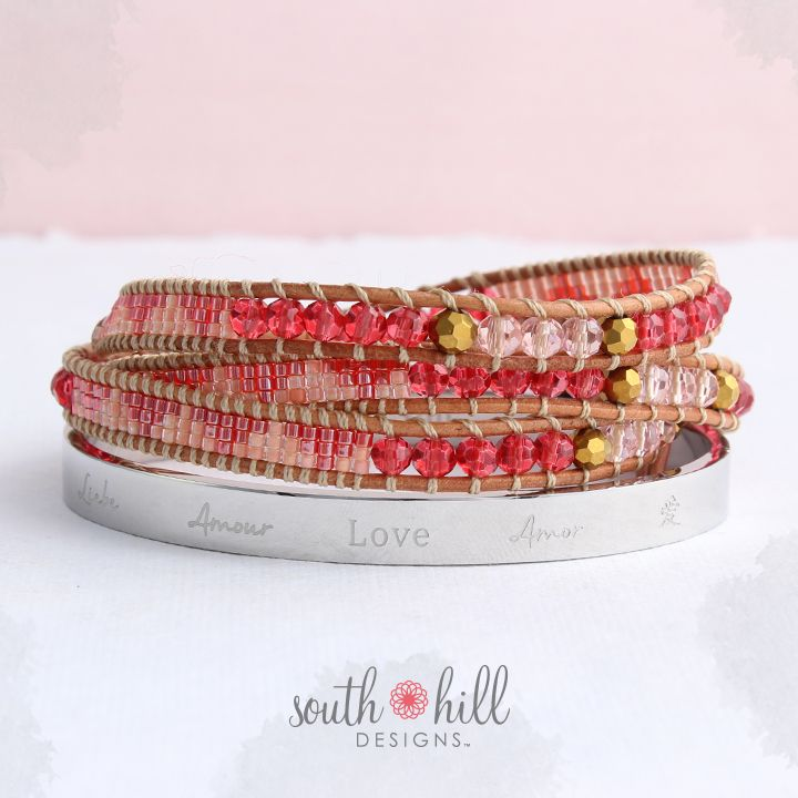 French Rose Beaded Wrap and Silver Tone Love Bangle - December 2015's last two-day temptation for South Hill Designs. Get yours at www.kazdesignslockets.southhilldesigns.com