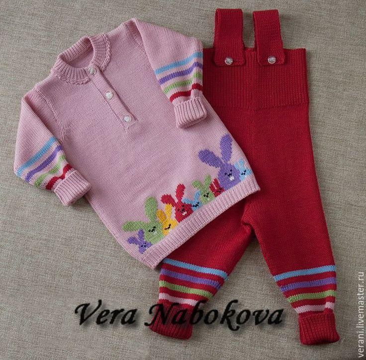 Купить Комплект детский из шерсти Разноцветные зайчики - костюм для девочки, костюм шерстяной, Костюм вязаный