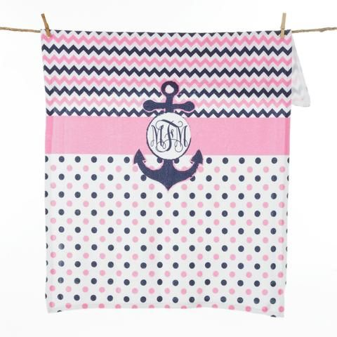 Pink Navy Anchor Dot Chevron Initial Blanket