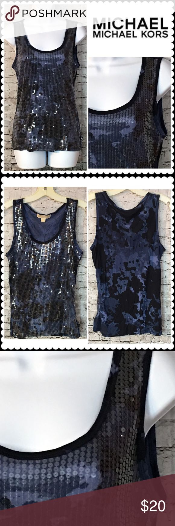 Blue print Sequin Tank Top by MICHAEL KORS Sz S Blue Camo print tank top. Front is Fully sequined. Sz Small KORS Michael Kors Tops Tank Tops