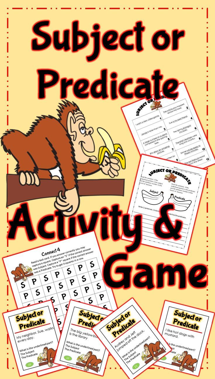 Subject and Predicate: Two great Subject and Predicate resources to give your students lots of practice. A Subject Predicate activity that can be projected on the board and used as a whole class activity or use it as a center/station activity during guided reading. Add the game to give the students extra practice.