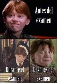 Una chiste de un examen! Tiene Ron Weasley para Harry Potter.  Ron esta joven en la pictura.