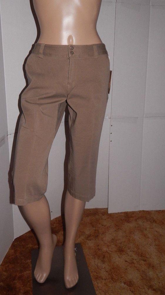 NWT Coldwater Creek capri cropped pants sz 8p 2 way stretch twill sit at waist…