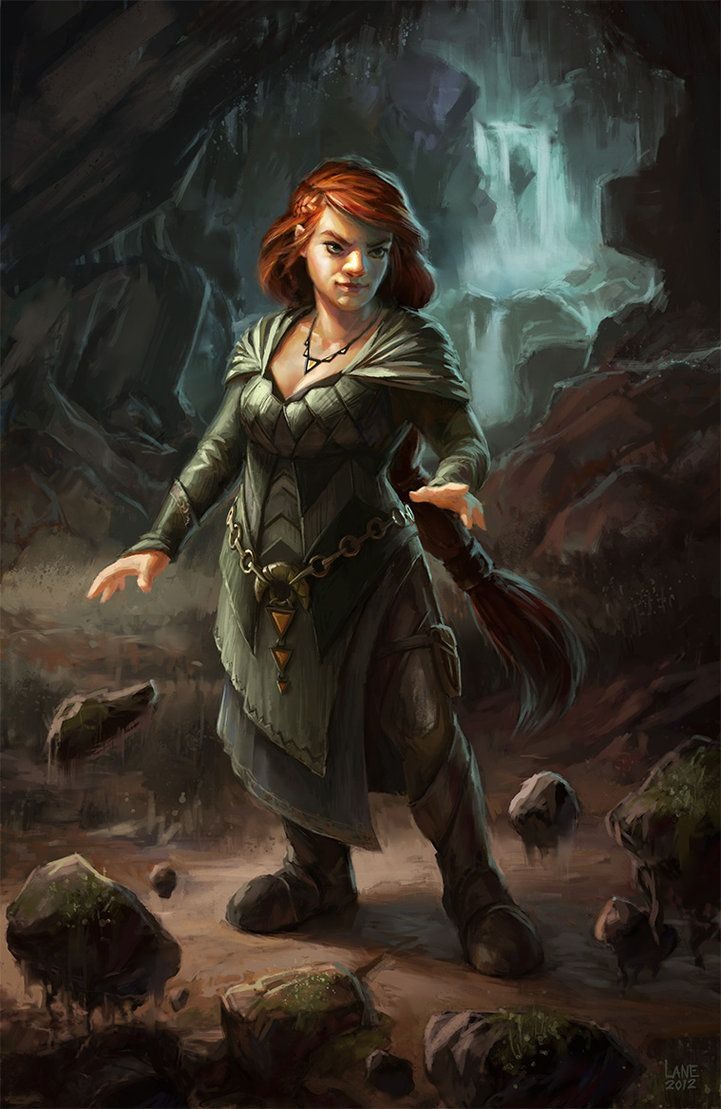 Dagna the Dwarf by *Wildweasel339. Can't always find a decent depiction of a female dwarf. I like that she's in a cave, wielding earth powers. - syzygy