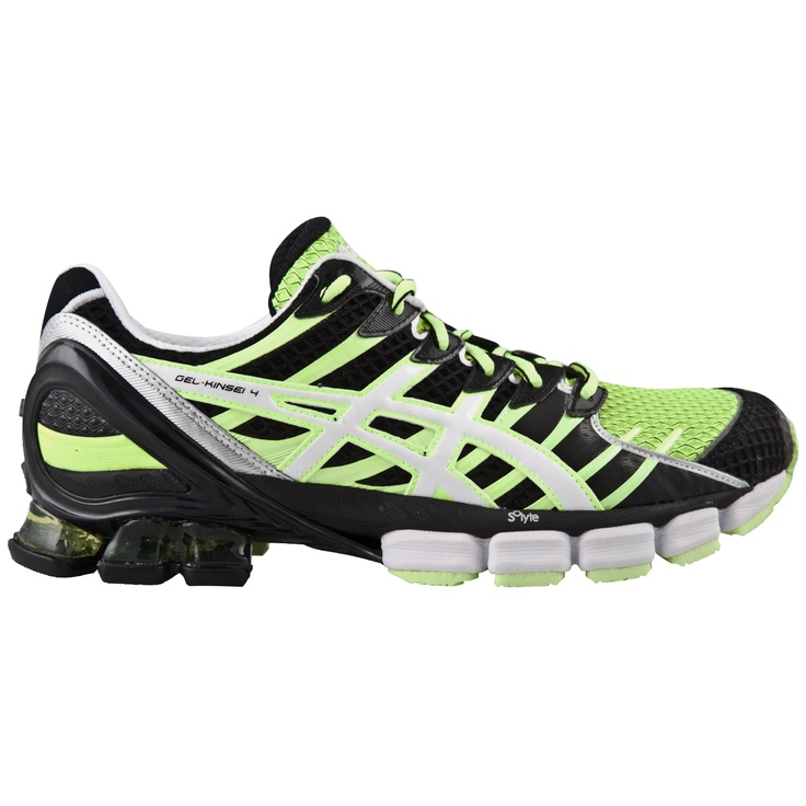 The Asics Gel-Kinsei 4 Men's Running Shoe. In Black, Yellow and White