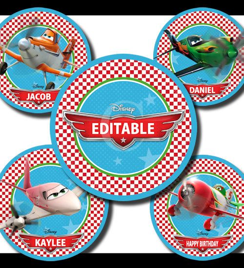 """Editable Disney Planes 15 - 2"""" Circle Images - Printable Cupcake Toppers, Stickers, Crafts & More -  Instant Download"""