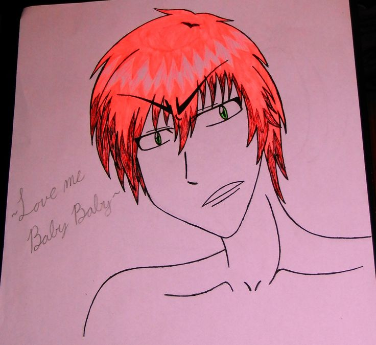 My drawing of a dream character.  ~Calix Carter~ (And his fabulous pink hair)
