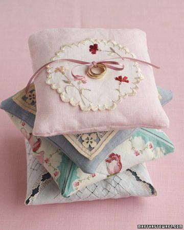 made with one of grandma's handkerchiefs: Craft, Ring Pillows, Vintage Handkerchief, Wedding Ideas, Rings, Vintage Hankie, Vintage Linen