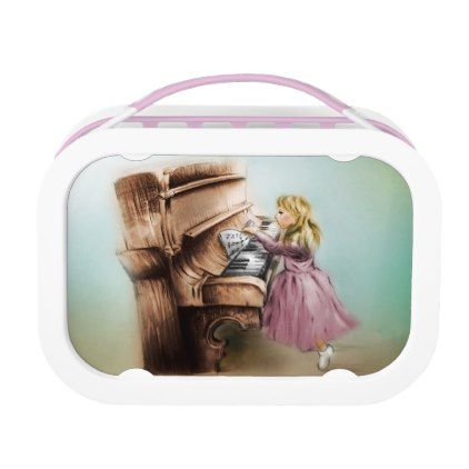 Orignal vintage art lunch box - Piano Girl - kitchen gifts diy ideas decor special unique individual customized
