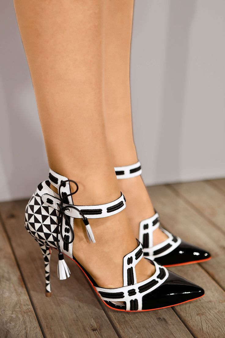 You will be mine! Sophia Webster for J Crew. Black and white tasseled heels.
