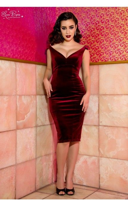 Laura Byrnes California- The Laura Byrnes Gilda Dress in Deep Wine Velvet | Pinup Girl Clothing