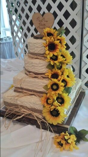 Rustic sunflower wedding cake