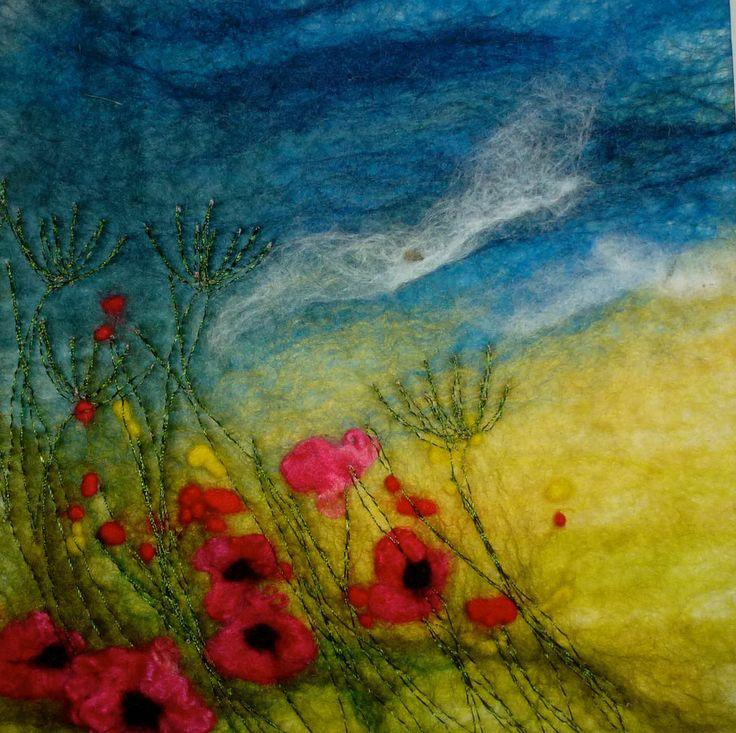 Original Hand Made Felt 'Painting' poppy field