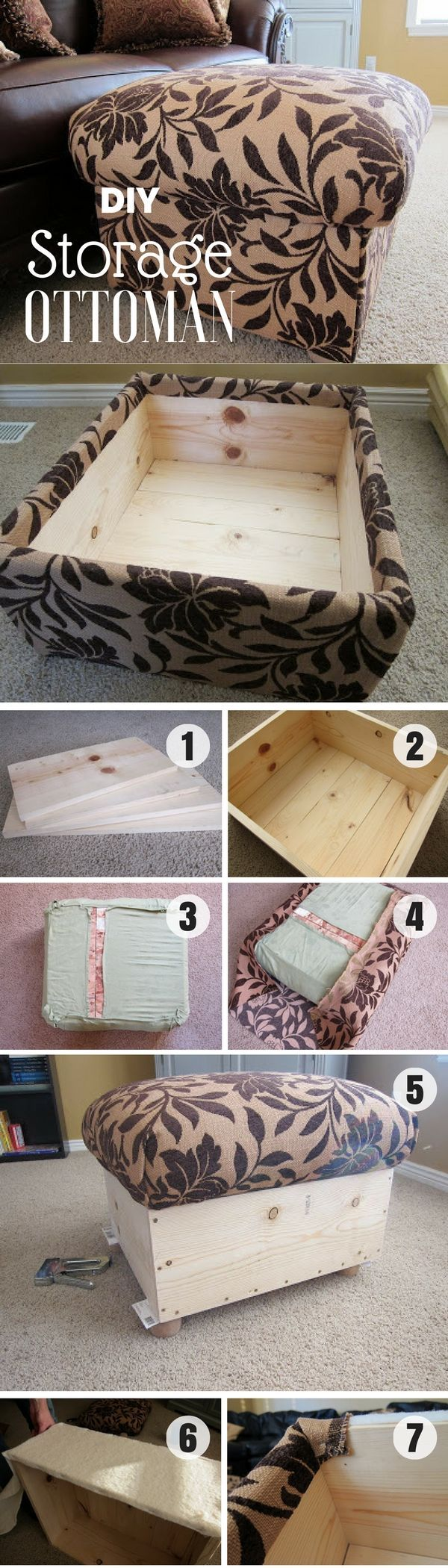 Check out this easy idea on how tom make your own DIY storage ottoman from scratch for living room for home decor [] @ istandarddesign