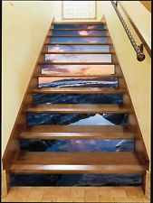 3D Nice Sky, Sea Stair Risers Decoration Photo Mural Vinyl Decal Wallpaper  AU