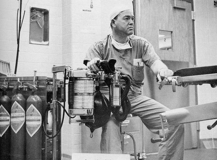 Anesthesiologist Dr. John C. Doerr on a typical work day. Rex on Saint Mary's Street c. 1960.
