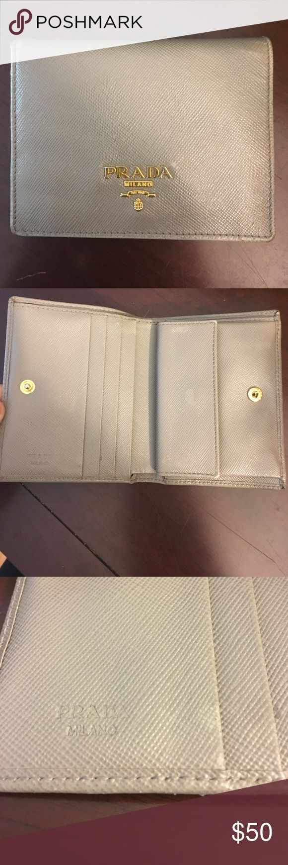 "Prada Mini Saffiano Leather Bifold Wallet in grey Mini Leather Logo Wallet In Textured Saffiano Leather Snap Closure, Goldtone Hardware, One Bill Compartment, Four Credit Card Slots, One Flap Coin Pocket, Leather Lining, 4.5""W X 3.25""H, Made In Italy Dust Bag And Authenticity Card MISSING. -> thus the low price (It is authentic though) Prada Bags Wallets"