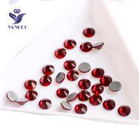 YANRUO 2058HF Scuro Siam Hot Fix Rhinestones di Cristallo di Vetro Garnet Stones Per Il Vestito Vestiti Da Cucire Indumento