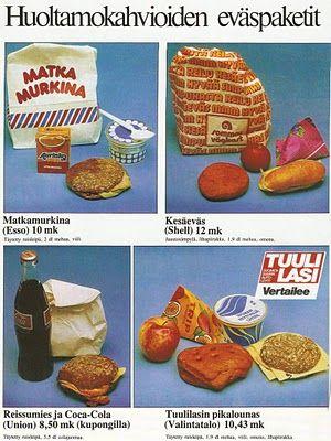 Eväspaketteja matkamiehille siihen aikaan (v. 1982) kun ei vielä ollut ABC- myymälöitä ja Trip-mehuja sai vielä kolmiotetroissa.