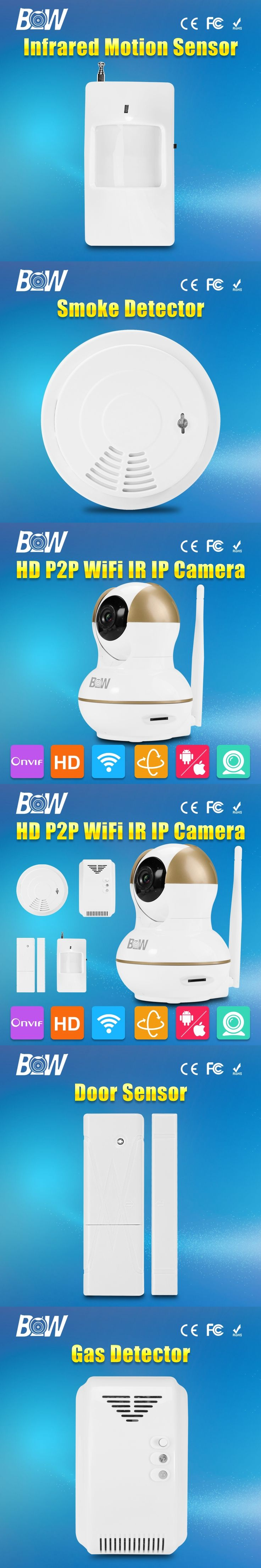 BW Wireless CCTV HD 720P IP Camera Wifi P2P with Alarm Function Door Sensor,IR/Smoke/Gas Detectors Remote Controller Security