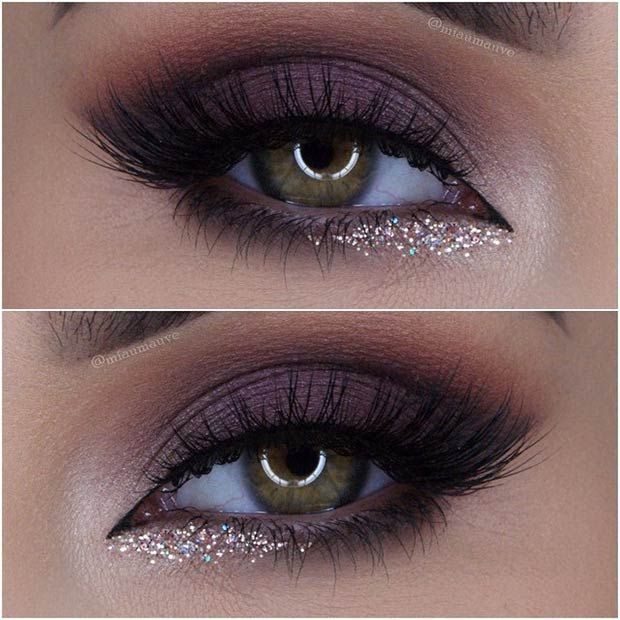 This purple smokey eye with a pop of shimmering glitter is the ideal look for any festive occasion. Shades of brown and purple look flattering on just about everyone, so make sure to give this look a try!