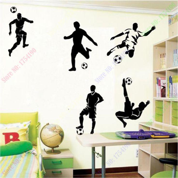 Недавно разработанные 5 Футбол Футболисты спорт wall art виниловые мальчики спальня наклейки на стены дети стикер стены home decor Бесплатная Доставка доставка