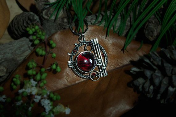 Celestial Sphere #7 Sterling Silver (925) pendant with red glass and red beads by Calisto Breeze