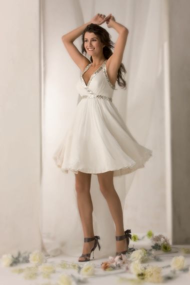 Wedding Dresses Short A Line With Straps Catching Beads Working V Neck Empire Wasit Chiffon Satin Beach Bridal Gown