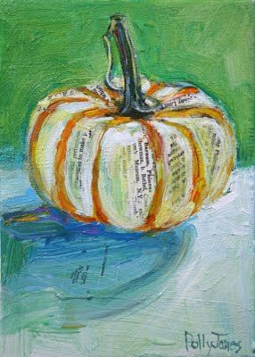 mixed media gourd/pumokin painting: Polly Jones